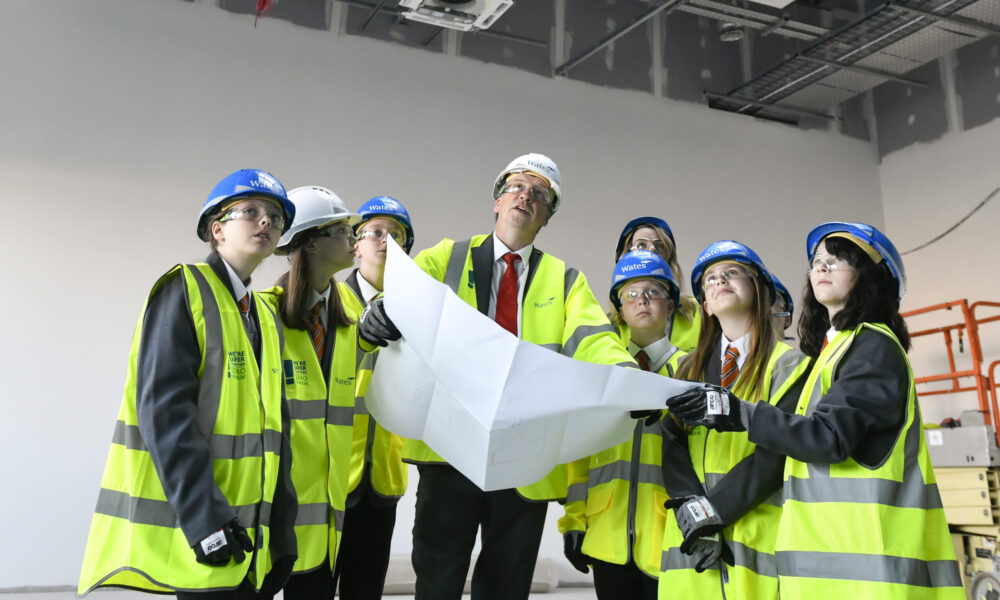 The Whitehaven Academy. Pupils get their first look at the inside of the new Academy site which is under construction. Headteacher Nigel Youngman (centre): 15 September 2021 Stuart Walker Copyright Stuart Walker Photography 2021